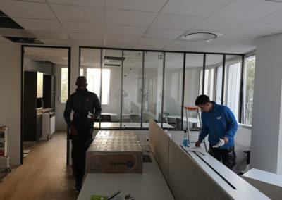 Modulaire et cloison vitrée courbe